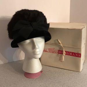 MCM vintage brown mink fur hat with black velvet